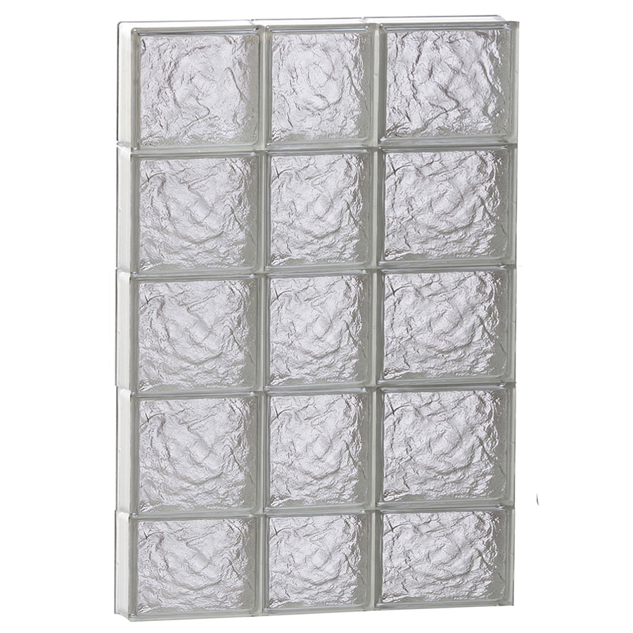 REDI2SET Ice Pattern Frameless Replacement Glass Block Window (Rough Opening: 22-in x 38-in; Actual: 21.25-in x 36.75-in)