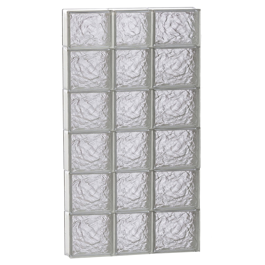 REDI2SET Ice Glass Pattern Frameless Replacement Glass Block Window (Rough Opening: 22-in x 46-in; Actual: 21.25-in x 44.5-in)