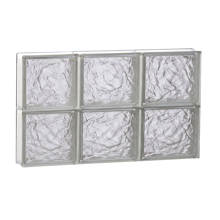 REDI2SET Ice Glass Pattern Frameless Replacement Glass Block Window (Rough Opening: 24-in x 16-in; Actual: 23.25-in x 15.5-in)