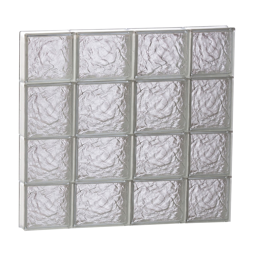 REDI2SET Ice Pattern Frameless Replacement Glass Block Window (Rough Opening: 28-in x 26-in; Actual: 27-in x 25-in)