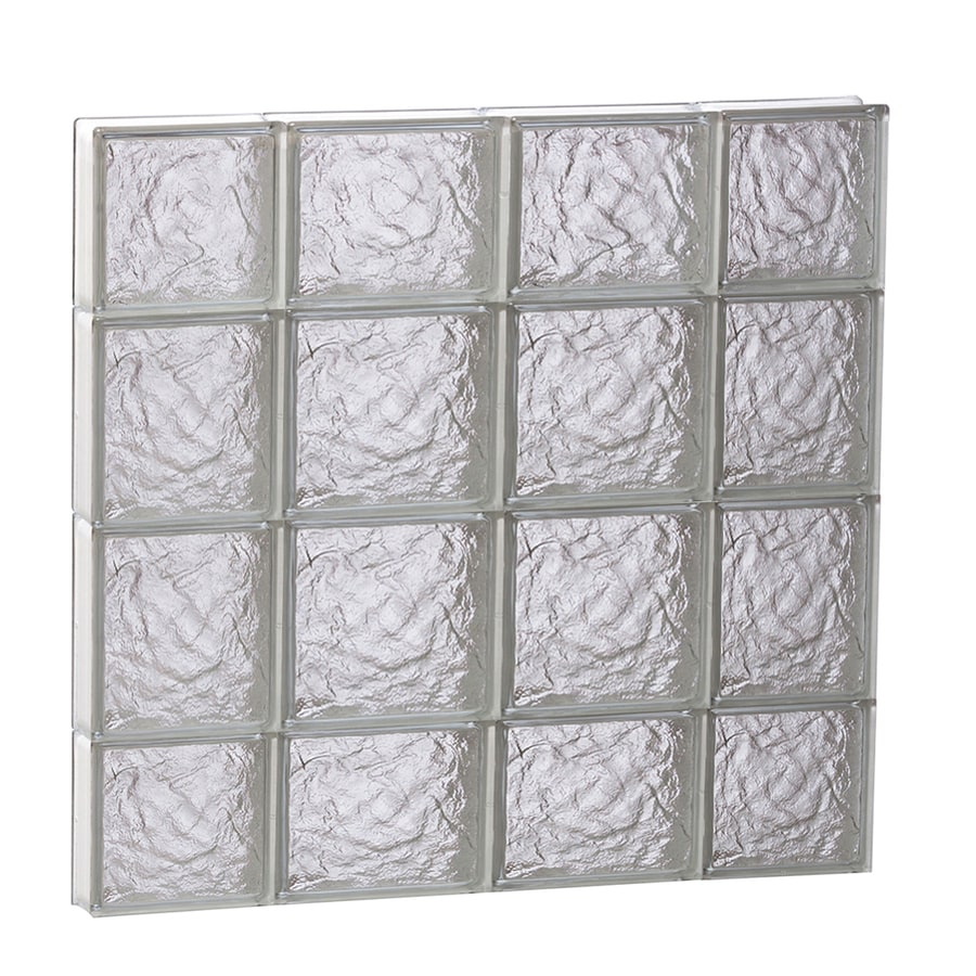 REDI2SET Ice Pattern Frameless Replacement Glass Block Window (Rough Opening: 28-in x 28-in; Actual: 27-in x 27-in)