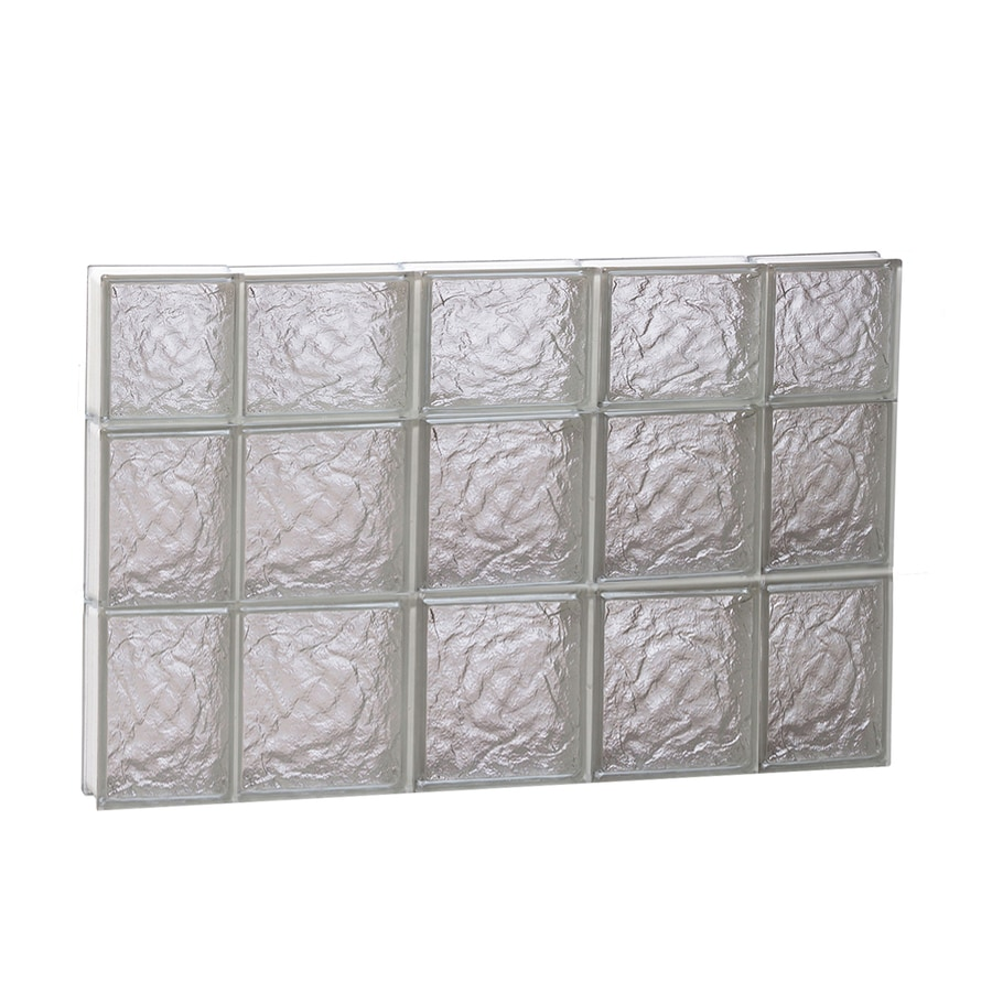 REDI2SET Ice Glass Pattern Frameless Replacement Glass Block Window (Rough Opening: 36-in x 22-in; Actual: 34.75-in x 21.25-in)