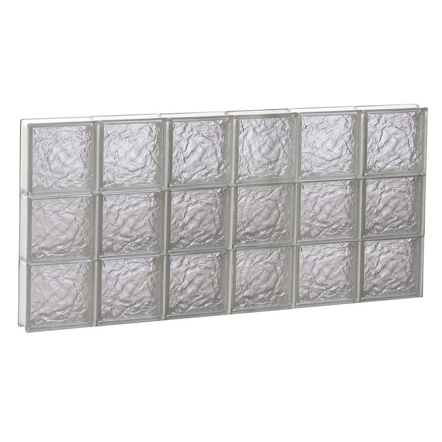 REDI2SET Ice Pattern Frameless Replacement Glass Block Window (Rough Opening: 48-in x 24-in; Actual: 46.5-in x 23.25-in)