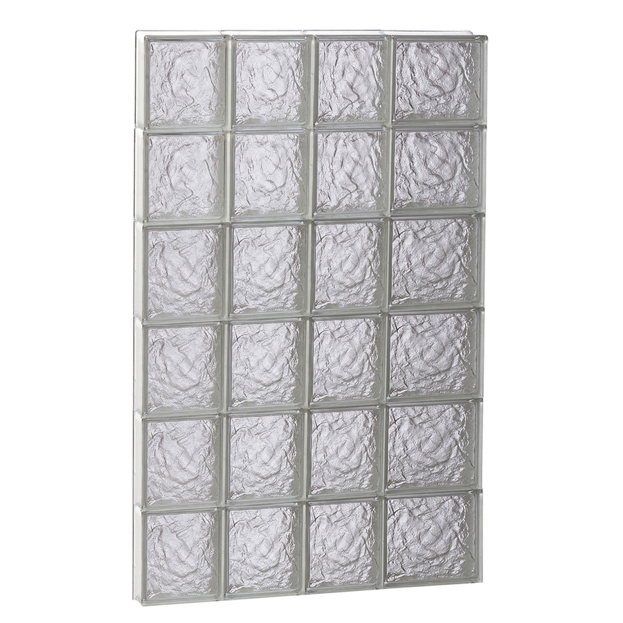 REDI2SET Ice Glass Pattern Frameless Replacement Glass Block Window (Rough Opening: 26-in x 48-in; Actual: 25-in x 46.5-in)