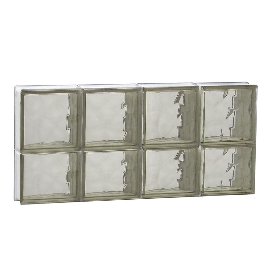 REDI2SET Wavy Bronze Glass Pattern Frameless Replacement Glass Block Window (Rough Opening: 32-in x 14-in; Actual: 31-in x 13.5-in)