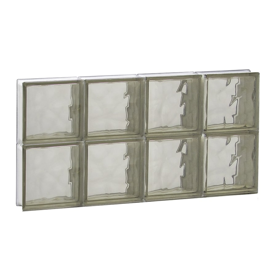 REDI2SET Wavy Bronze Pattern Frameless Replacement Glass Block Window (Rough Opening: 32-in x 16-in; Actual: 31-in x 15.5-in)
