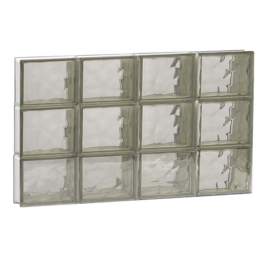 REDI2SET Wavy Bronze Glass Pattern Frameless Replacement Glass Block Window (Rough Opening: 32-in x 18-in; Actual: 31-in x 17.25-in)