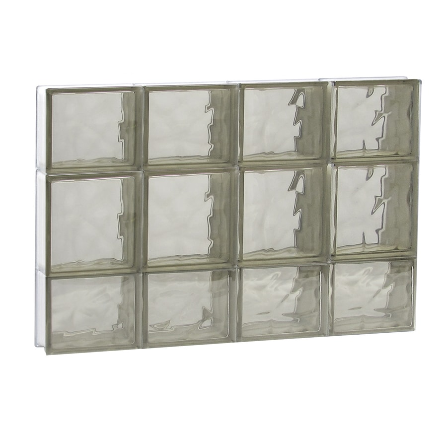 REDI2SET Wavy Bronze Glass Pattern Frameless Replacement Glass Block Window (Rough Opening: 32-in x 20-in; Actual: 31-in x 19.25-in)
