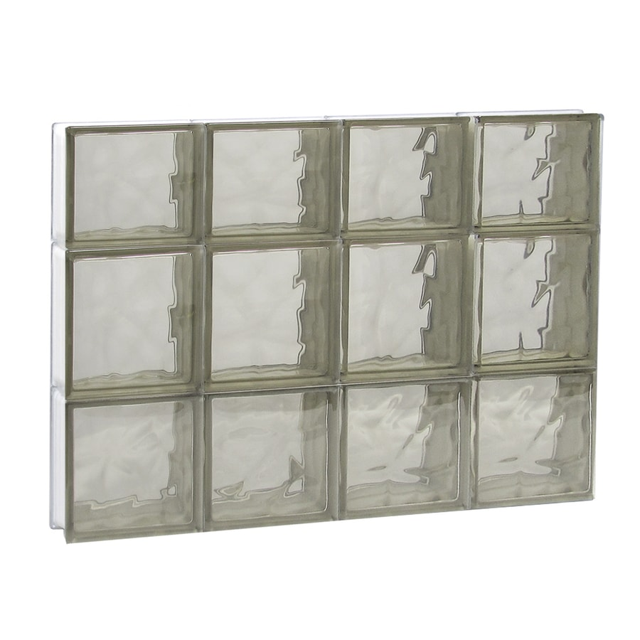 REDI2SET Wavy Bronze Pattern Frameless Replacement Glass Block Window (Rough Opening: 32-in x 22-in; Actual: 31-in x 21.25-in)