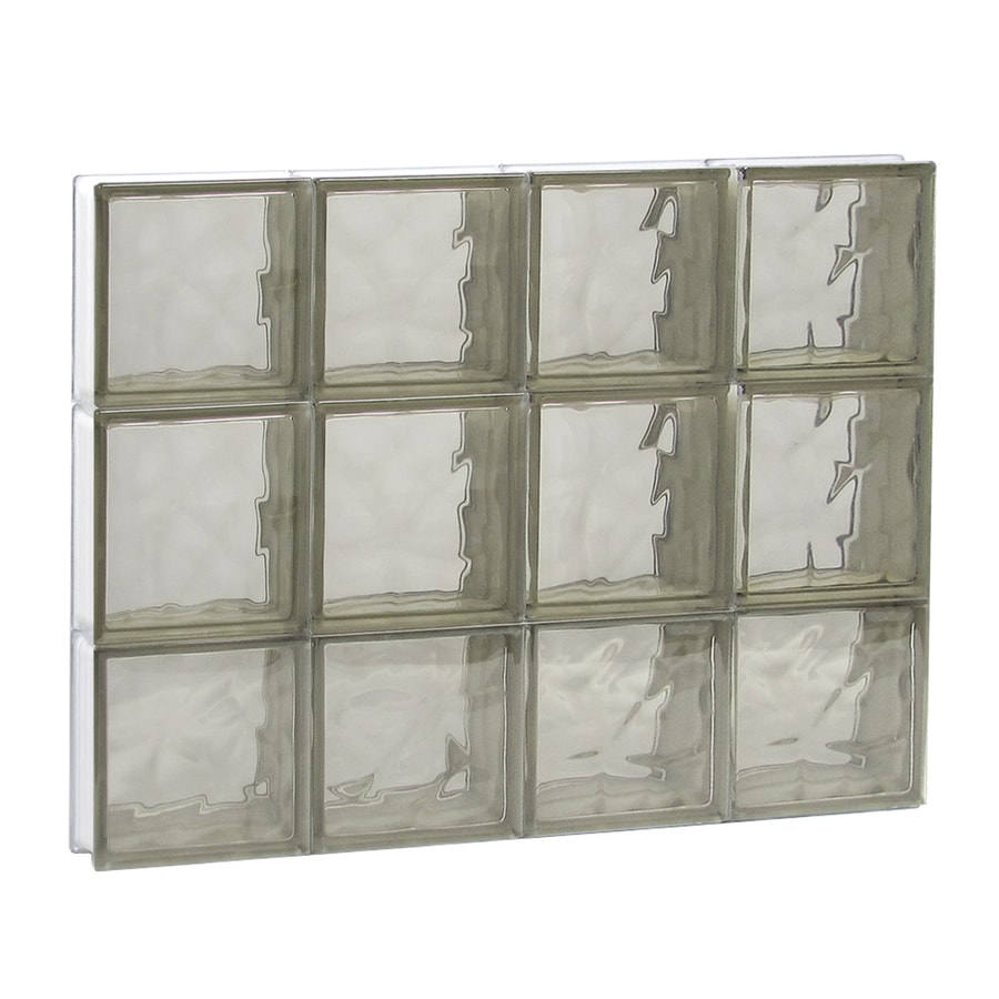 REDI2SET Wavy Bronze Glass Pattern Frameless Replacement Glass Block Window (Rough Opening: 32-in x 24-in; Actual: 31-in x 23.25-in)