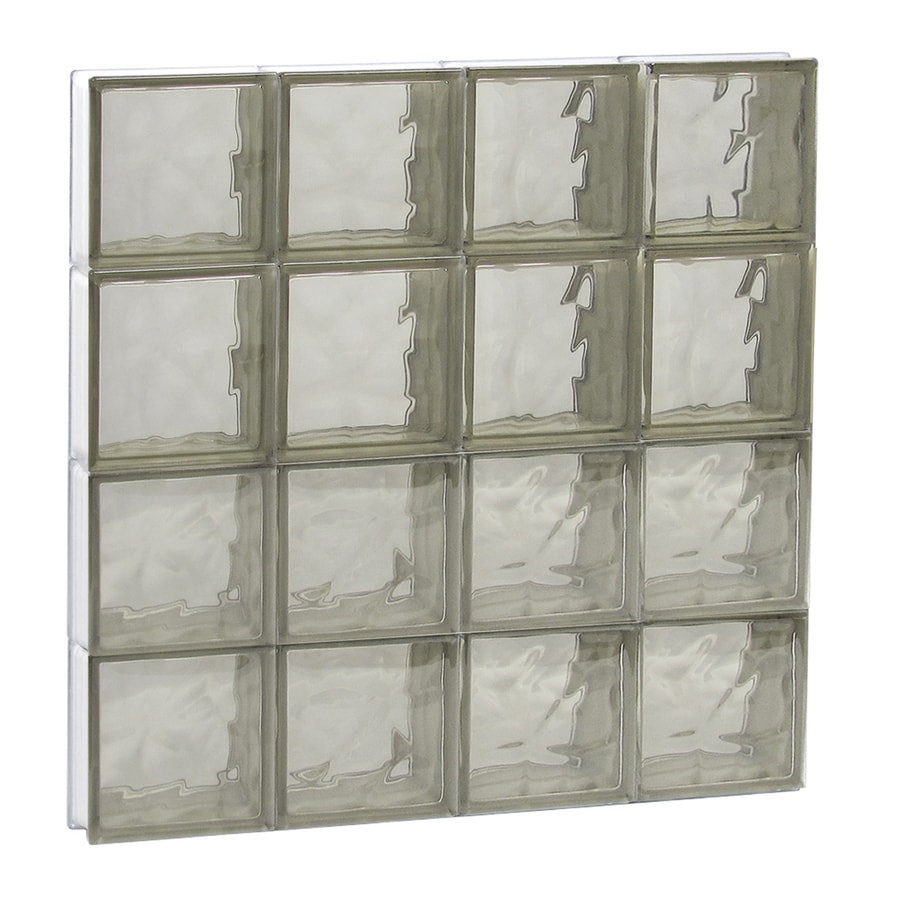 REDI2SET Wavy Bronze Glass Pattern Frameless Replacement Glass Block Window (Rough Opening: 32-in x 32-in; Actual: 31-in x 31-in)