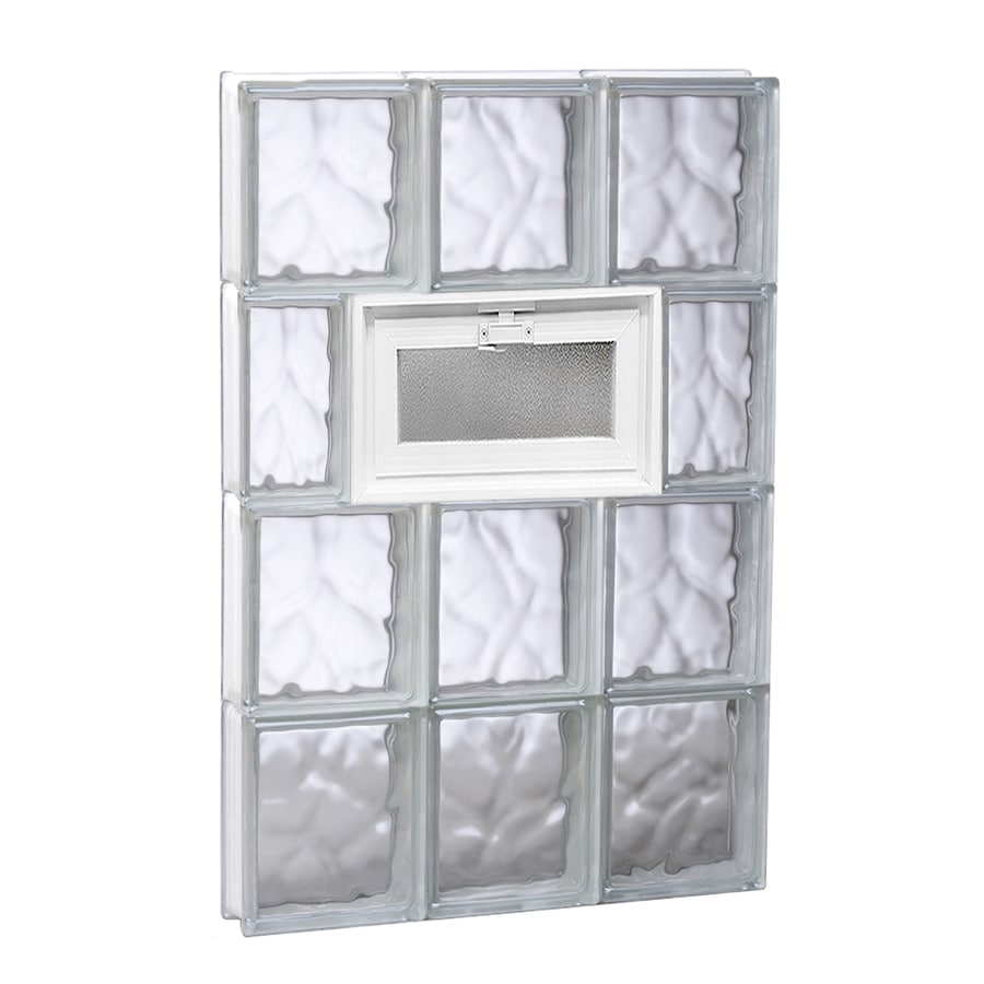 REDI2SET Wavy Pattern Frameless Replacement Glass Block Window (Rough Opening: 18-in x 32-in; Actual: 17.25-in x 31-in)