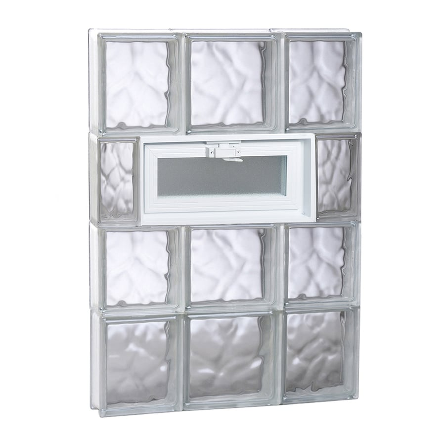 REDI2SET Wavy Glass Pattern Frameless Replacement Glass Block Window (Rough Opening: 20-in x 32-in; Actual: 19.25-in x 31-in)