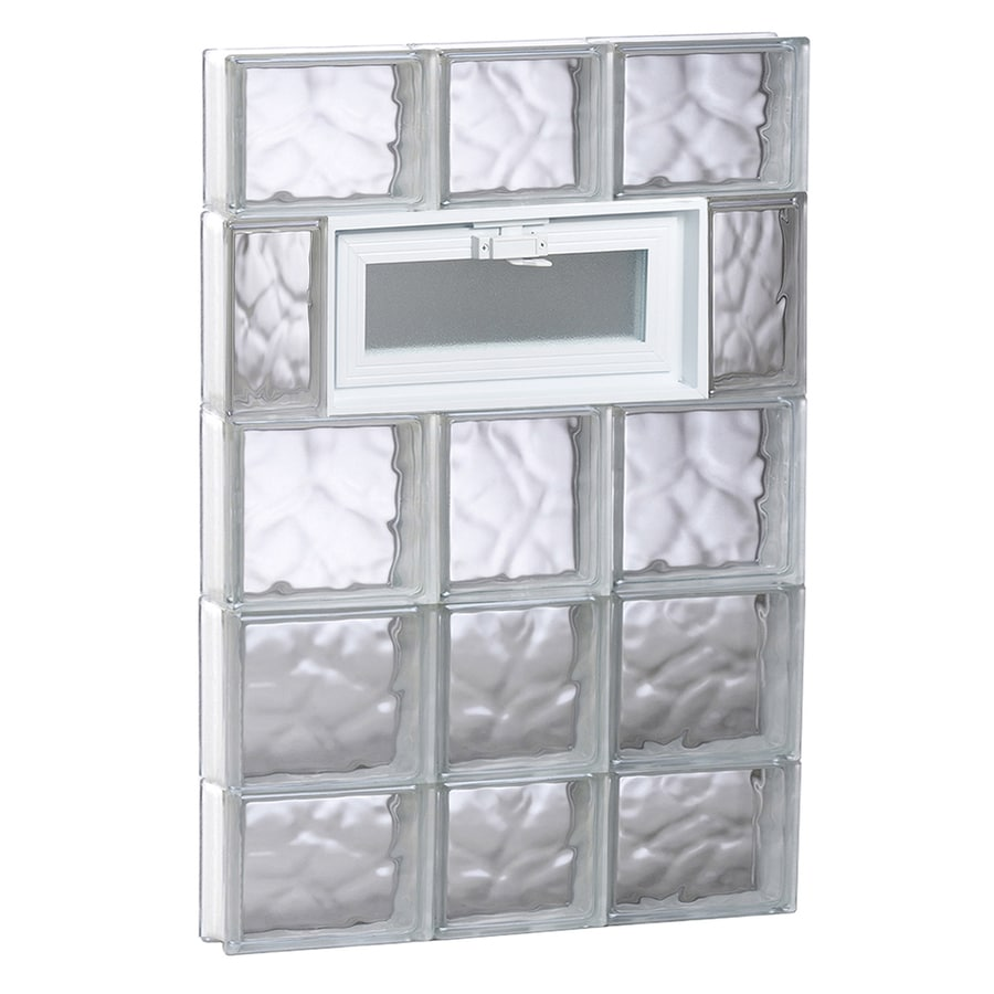 REDI2SET Wavy Glass Pattern Frameless Replacement Glass Block Window (Rough Opening: 22-in x 36-in; Actual: 21.25-in x 34.75-in)