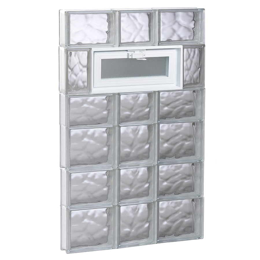 REDI2SET Wavy Pattern Frameless Replacement Glass Block Window (Rough Opening: 22-in x 42-in; Actual: 21.25-in x 40.5-in)