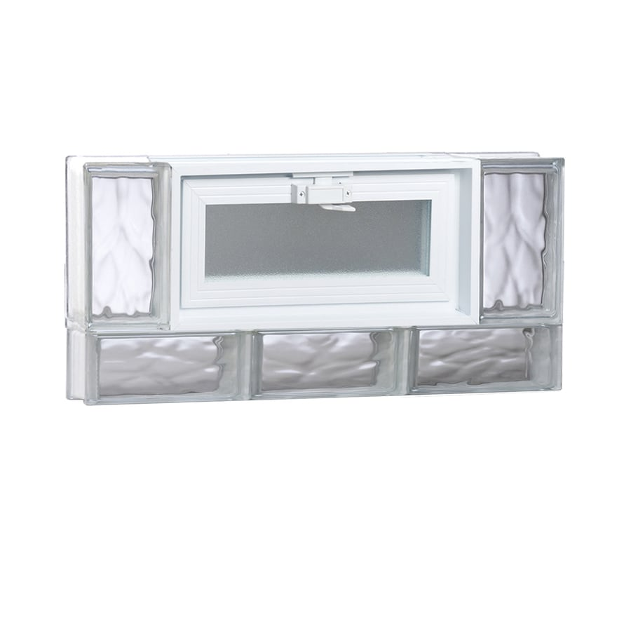 REDI2SET Wavy Glass Pattern Frameless Replacement Glass Block Window (Rough Opening: 24-in x 12-in; Actual: 23.25-in x 11.5-in)