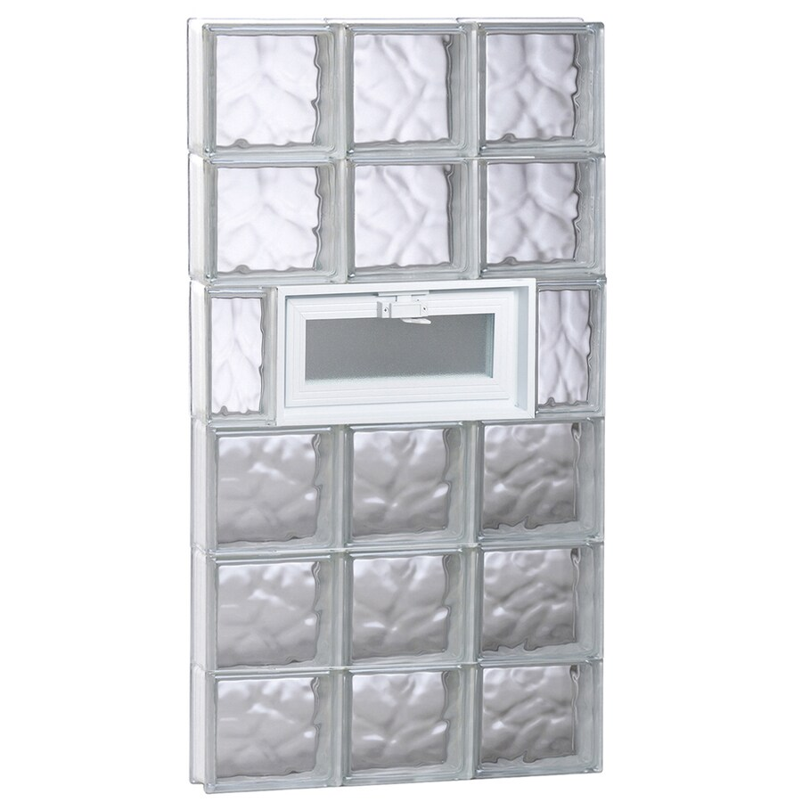 REDI2SET Wavy Glass Pattern Frameless Replacement Glass Block Window (Rough Opening: 24-in x 48-in; Actual: 23.25-in x 46.5-in)