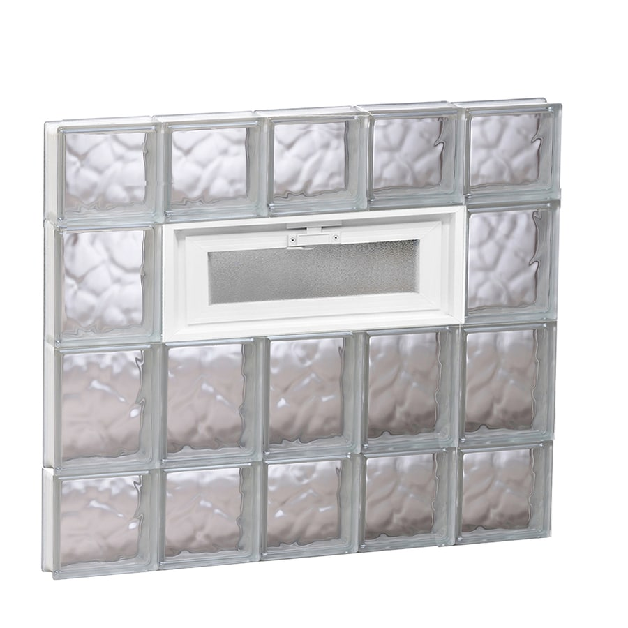 REDI2SET Wavy Pattern Frameless Replacement Glass Block Window (Rough Opening: 30-in x 28-in; Actual: 28.75-in x 27-in)