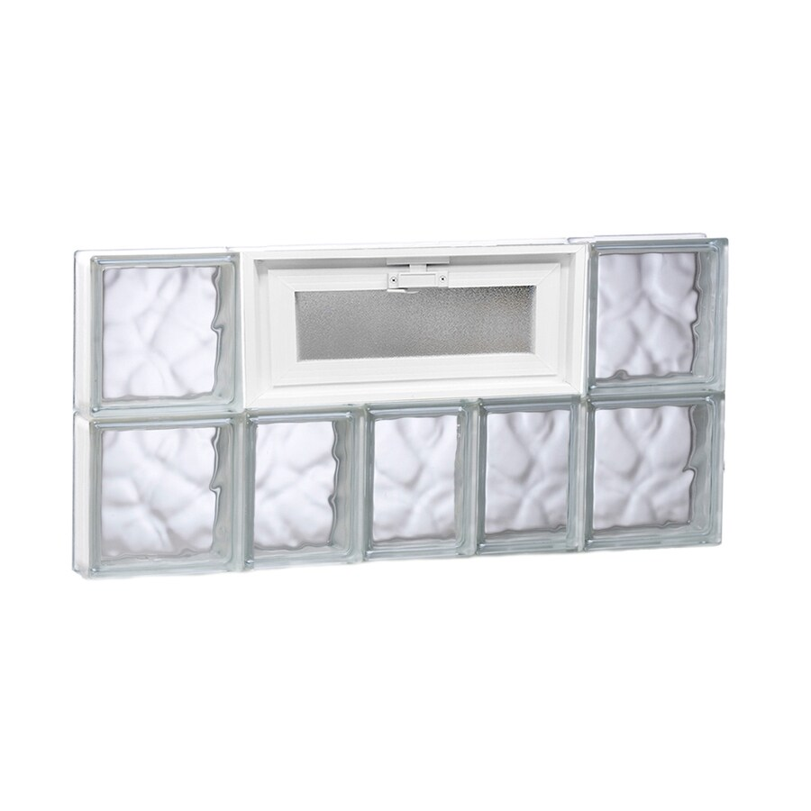 REDI2SET Wavy Glass Pattern Frameless Replacement Glass Block Window (Rough Opening: 34-in x 16-in; Actual: 32.75-in x 15.5-in)