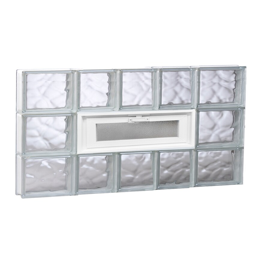 REDI2SET Wavy Pattern Frameless Replacement Glass Block Window (Rough Opening: 34-in x 18-in; Actual: 32.75-in x 17.25-in)