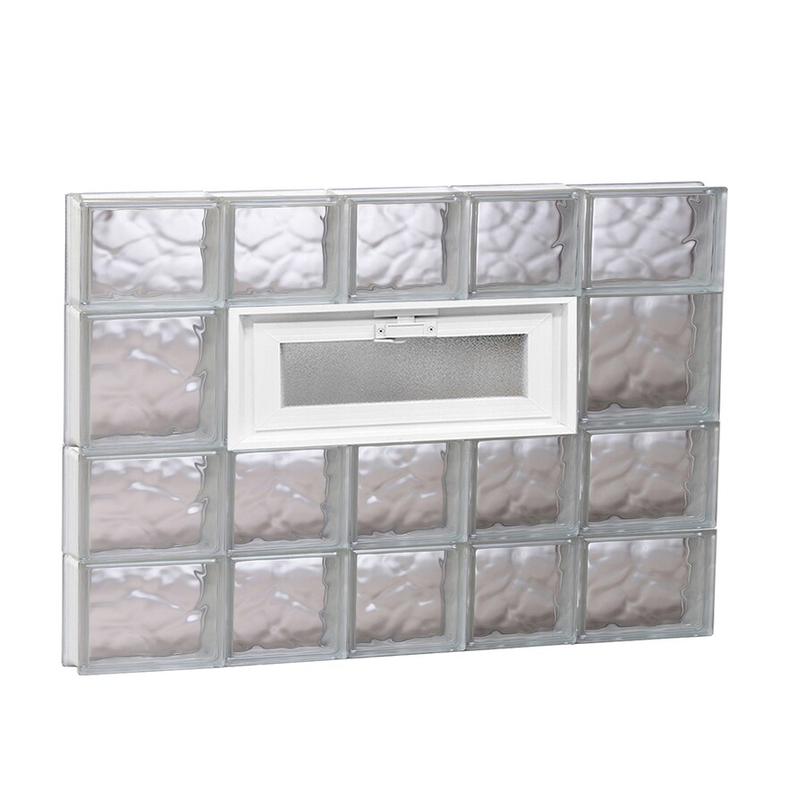 REDI2SET Wavy Pattern Frameless Replacement Glass Block Window (Rough Opening: 34-in x 26-in; Actual: 32.75-in x 25-in)