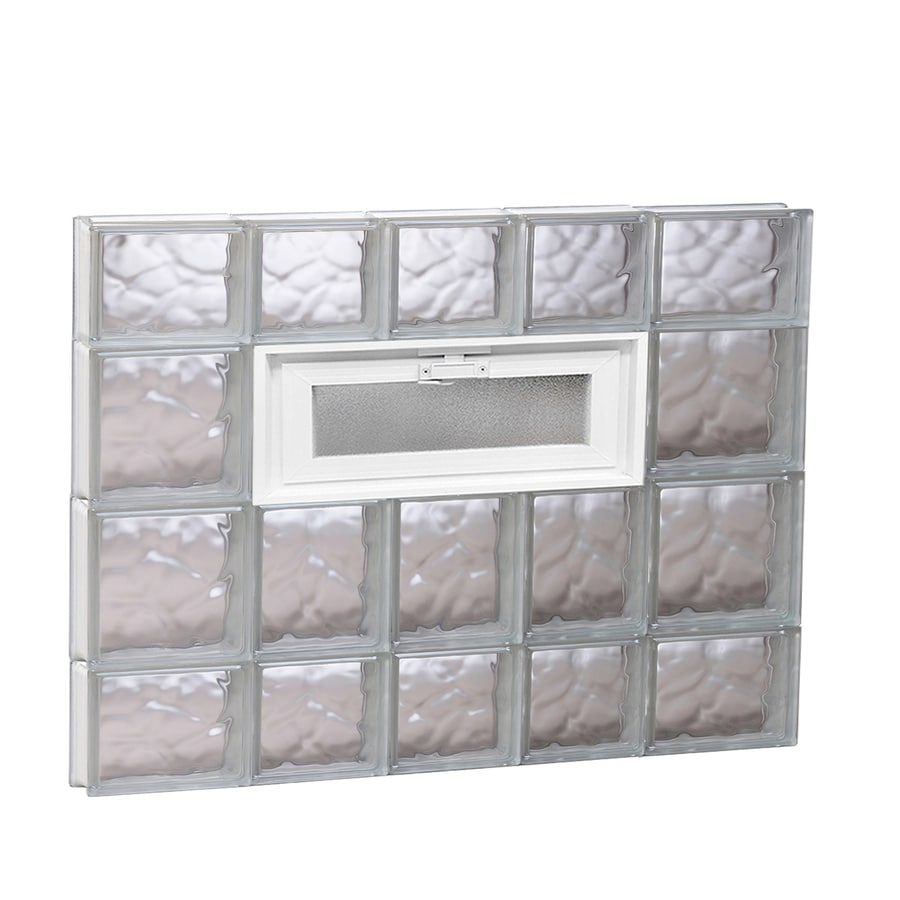 REDI2SET Wavy Pattern Frameless Replacement Glass Block Window (Rough Opening: 34-in x 28-in; Actual: 32.75-in x 27-in)