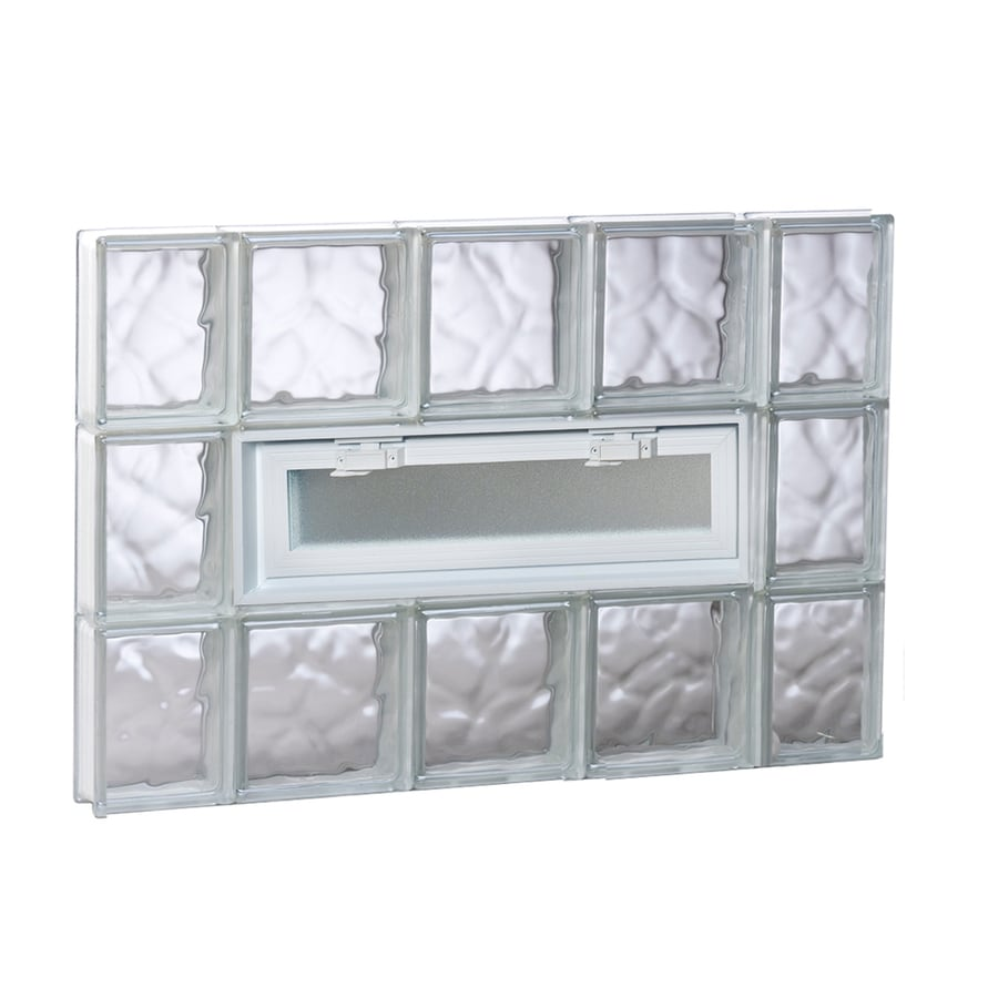 REDI2SET Wavy Pattern Frameless Replacement Glass Block Window (Rough Opening: 36-in x 24-in; Actual: 34.75-in x 23.25-in)