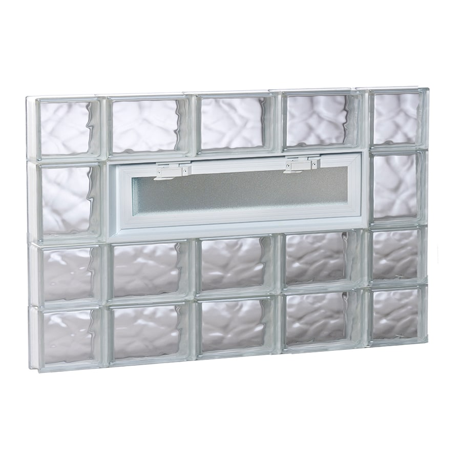 REDI2SET Wavy Pattern Frameless Replacement Glass Block Window (Rough Opening: 36-in x 26-in; Actual: 34.75-in x 25-in)