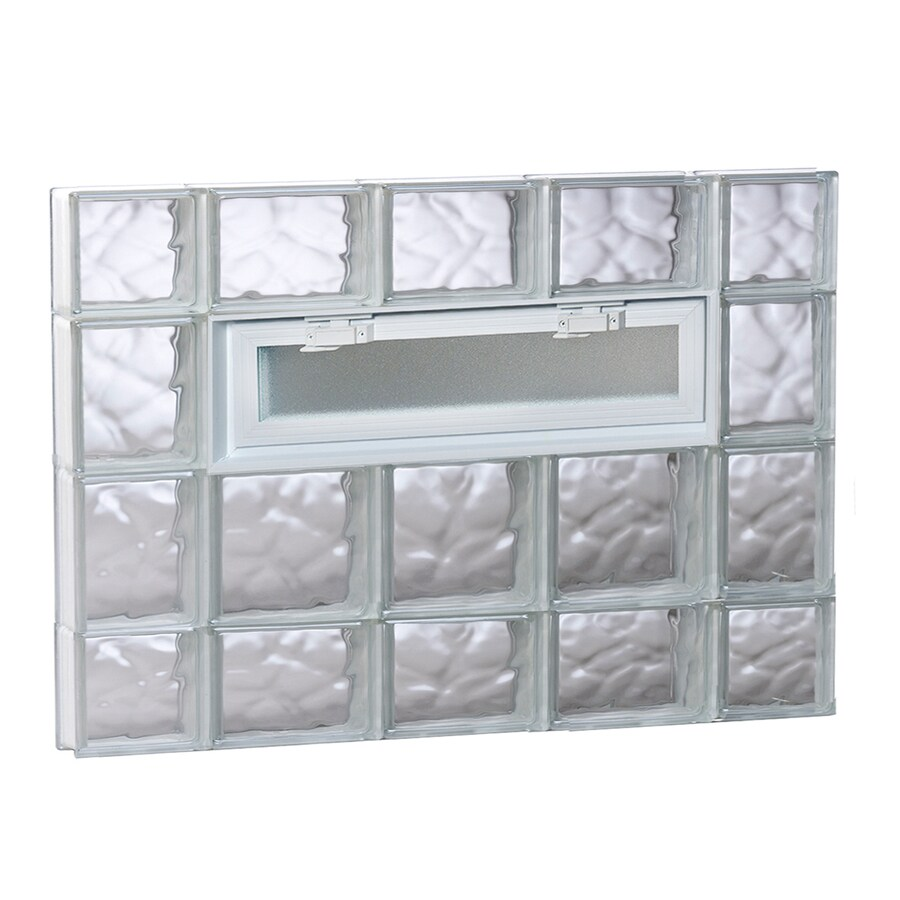 REDI2SET Wavy Pattern Frameless Replacement Glass Block Window (Rough Opening: 36-in x 28-in; Actual: 34.75-in x 27-in)