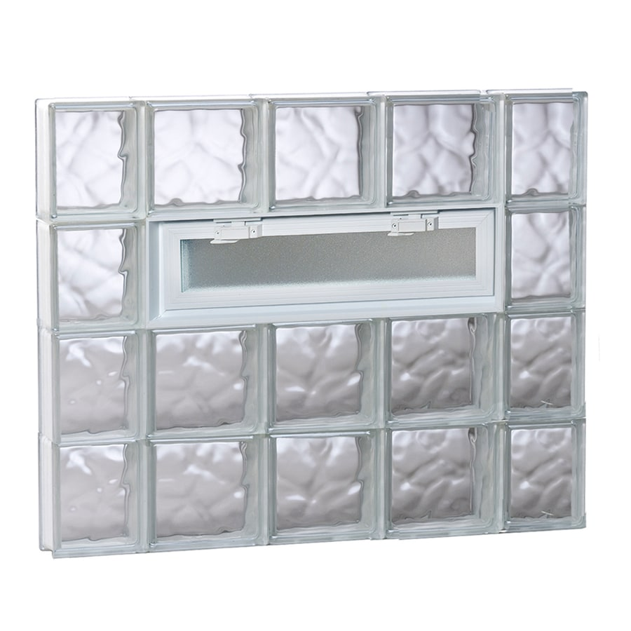 REDI2SET Wavy Glass Pattern Frameless Replacement Glass Block Window (Rough Opening: 36-in x 32-in; Actual: 34.7500-in x 31-in)