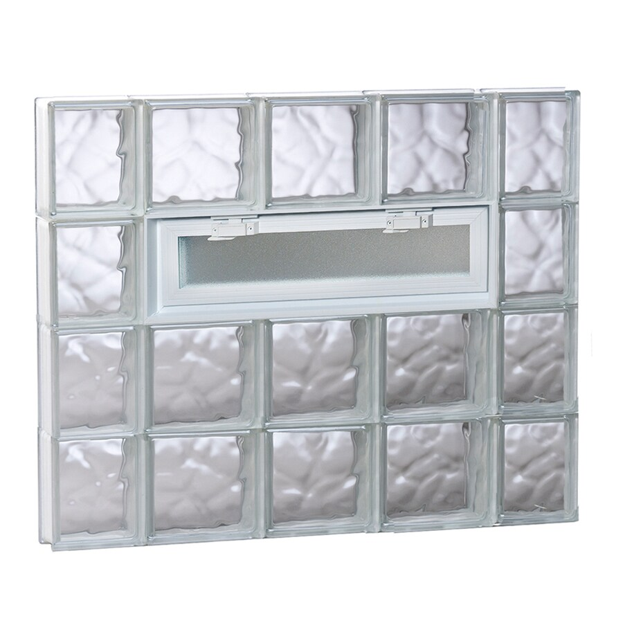 REDI2SET Wavy Pattern Frameless Replacement Glass Block Window (Rough Opening: 36-in x 32-in; Actual: 34.75-in x 31-in)