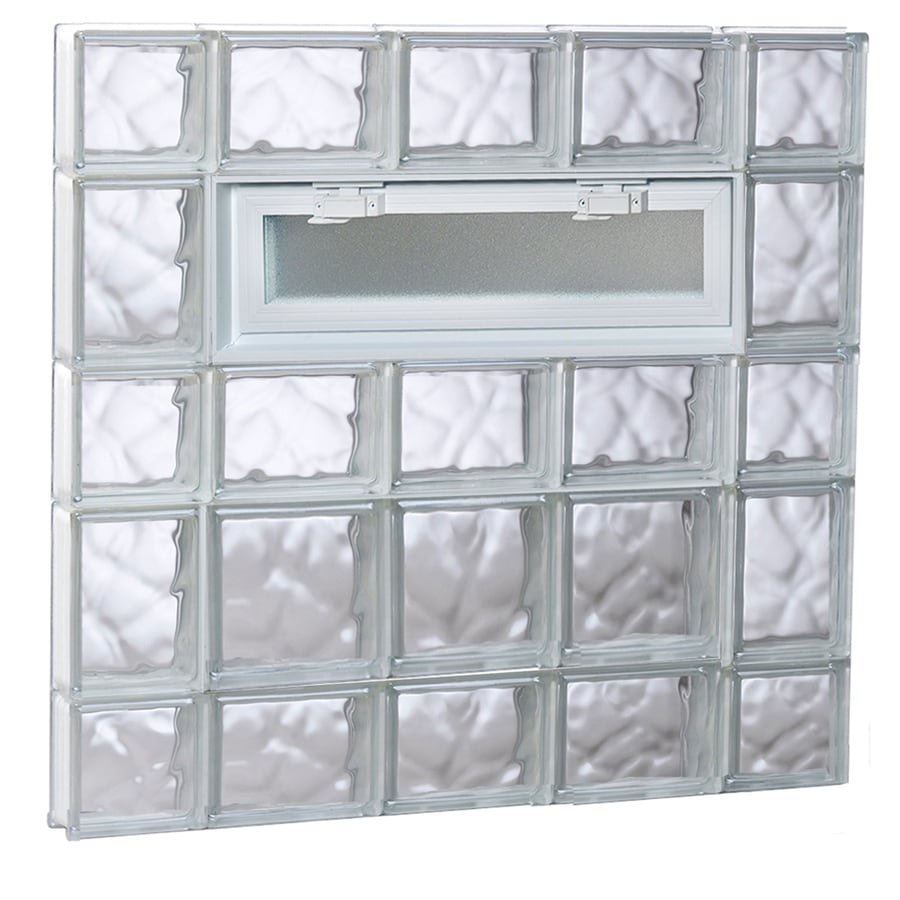 REDI2SET Wavy Pattern Frameless Replacement Glass Block Window (Rough Opening: 36-in x 34-in; Actual: 34.75-in x 32.75-in)