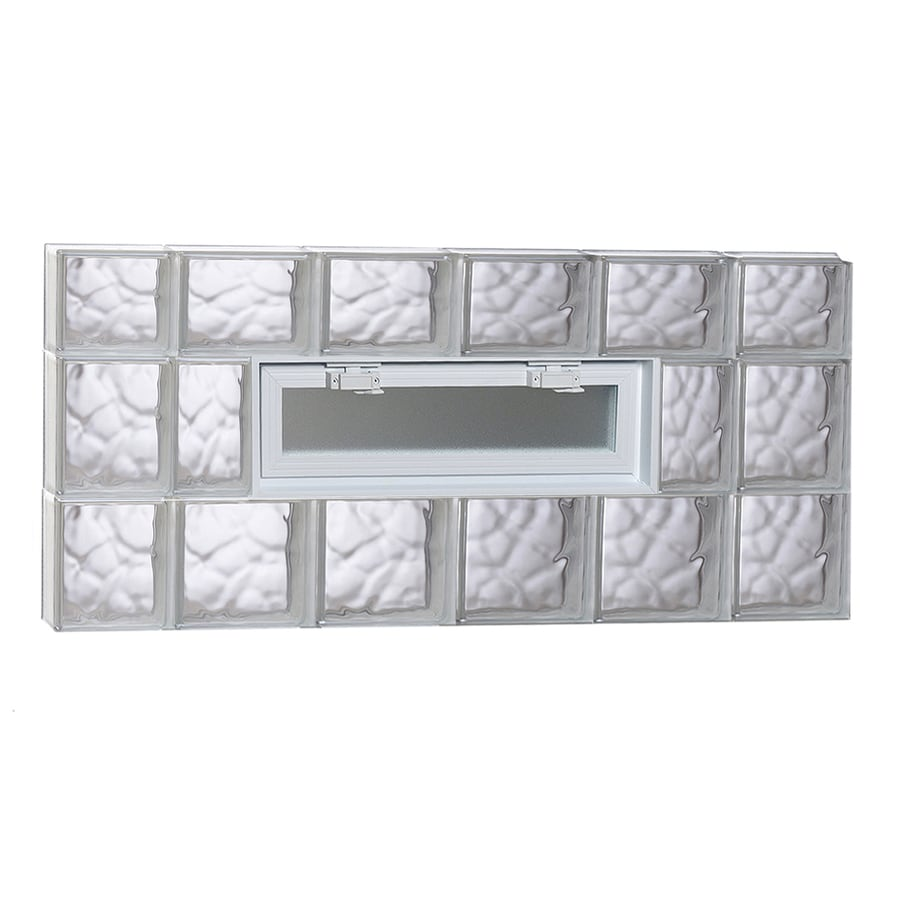 REDI2SET Wavy Pattern Frameless Replacement Glass Block Window (Rough Opening: 44-in x 22-in; Actual: 42.5-in x 21.25-in)