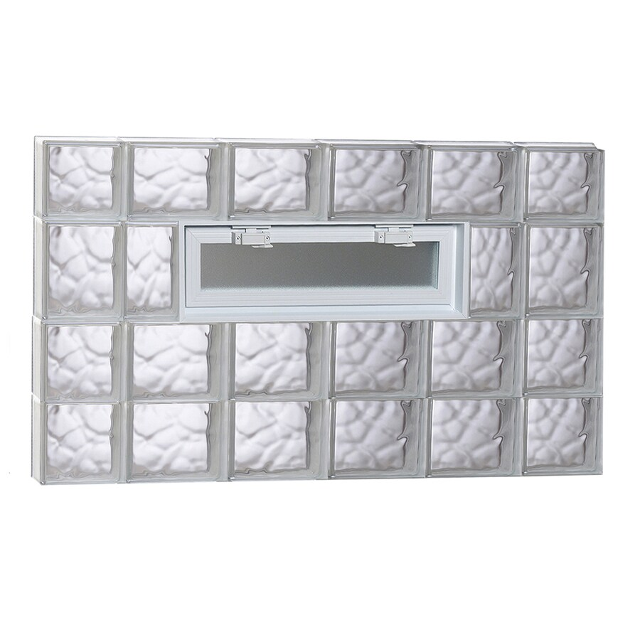 REDI2SET Wavy Pattern Frameless Replacement Glass Block Window (Rough Opening: 44-in x 26-in; Actual: 42.5-in x 25-in)