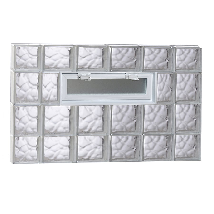 REDI2SET Wavy Pattern Frameless Replacement Glass Block Window (Rough Opening: 44-in x 28-in; Actual: 42.5-in x 27-in)