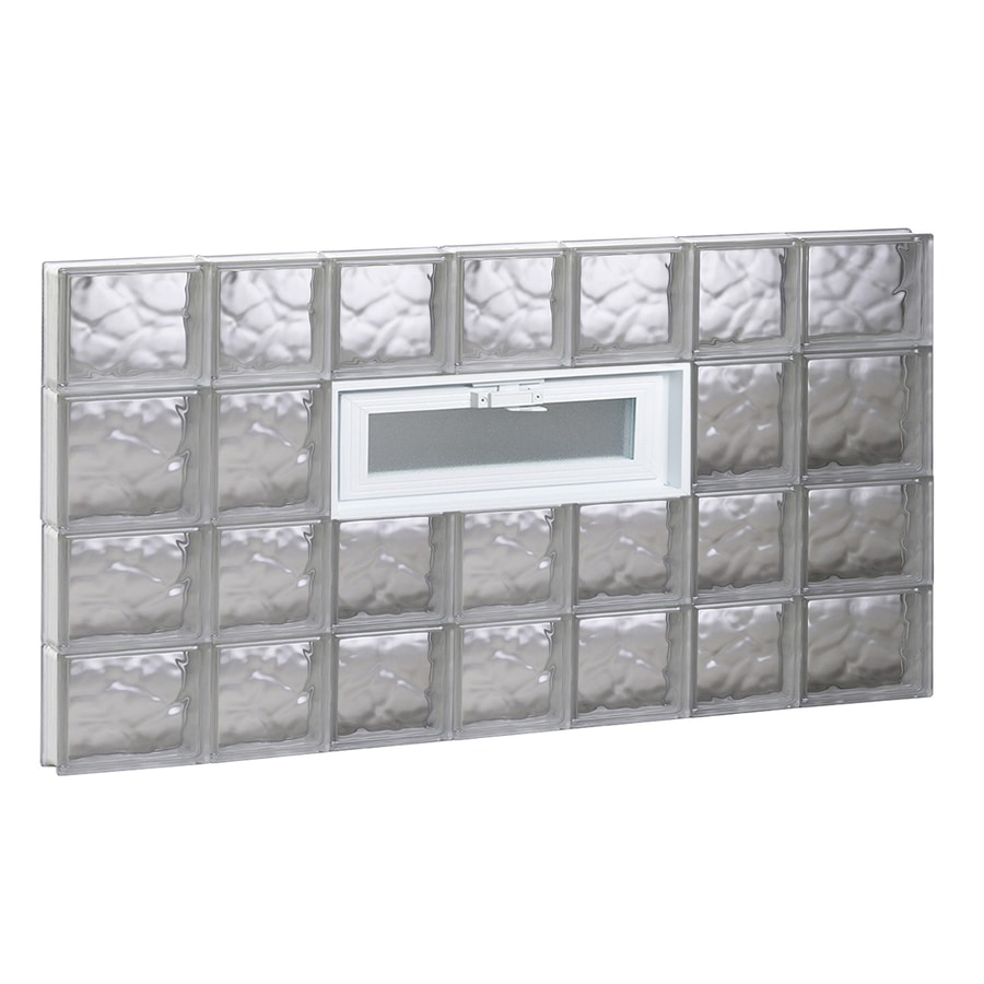 REDI2SET Wavy Pattern Frameless Replacement Glass Block Window (Rough Opening: 46-in x 26-in; Actual: 44.25-in x 25-in)