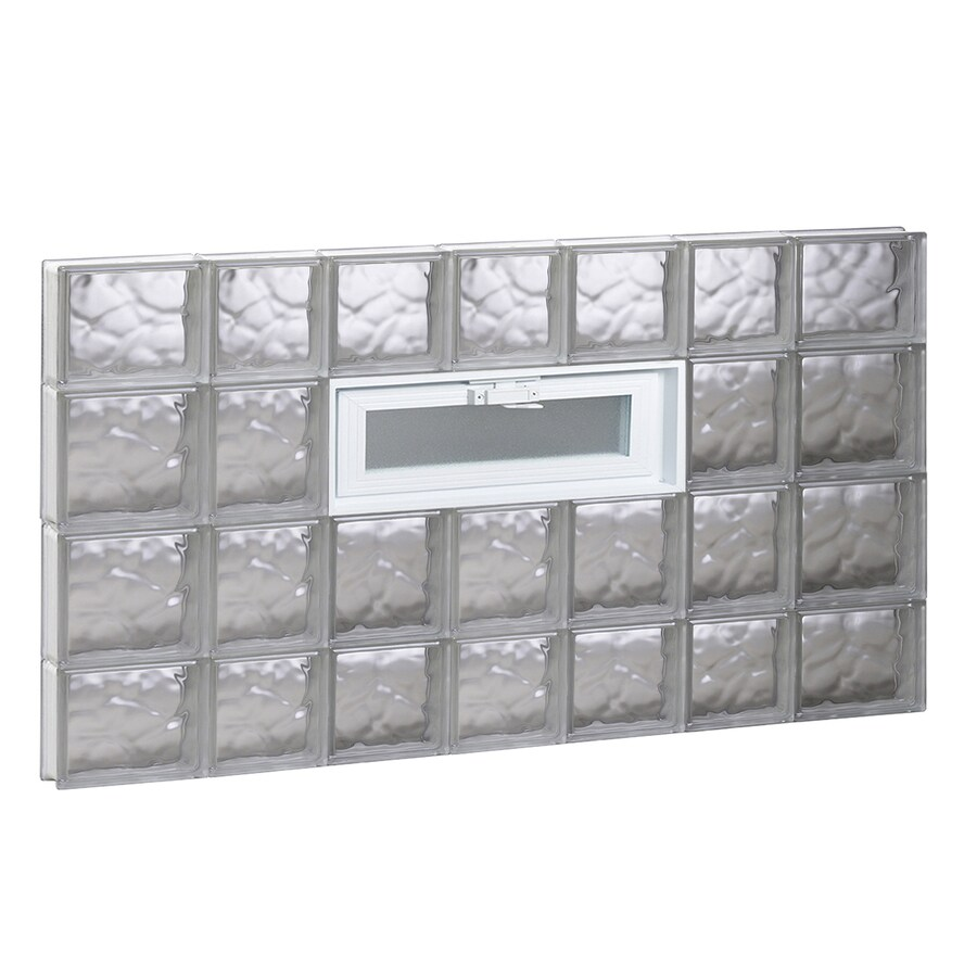 REDI2SET Wavy Pattern Frameless Replacement Glass Block Window (Rough Opening: 46-in x 28-in; Actual: 44.25-in x 27-in)