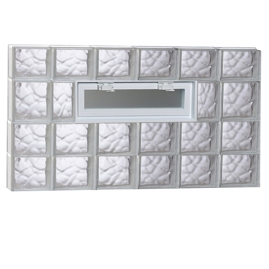 REDI2SET Wavy Pattern Frameless Replacement Glass Block Window (Rough Opening: 48-in x 26-in; Actual: 46.5-in x 25-in)