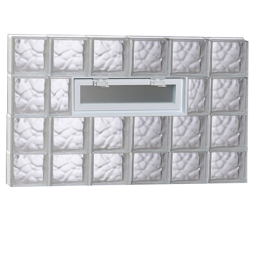 REDI2SET Wavy Pattern Frameless Replacement Glass Block Window (Rough Opening: 48-in x 30-in; Actual: 46.5-in x 29-in)