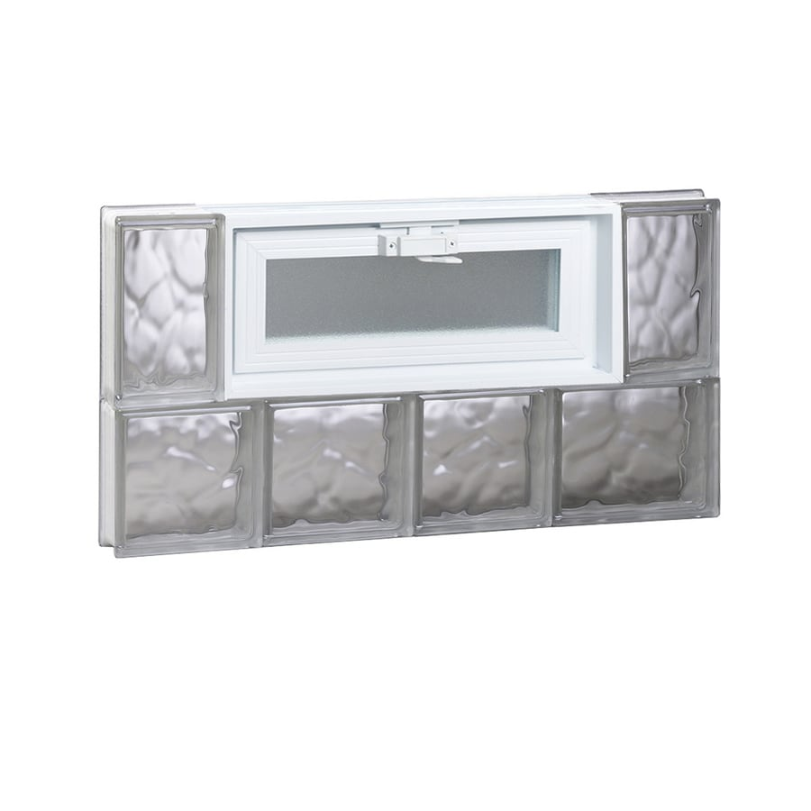 REDI2SET Wavy Pattern Frameless Replacement Glass Block Window (Rough Opening: 26-in x 14-in; Actual: 25-in x 13.5-in)