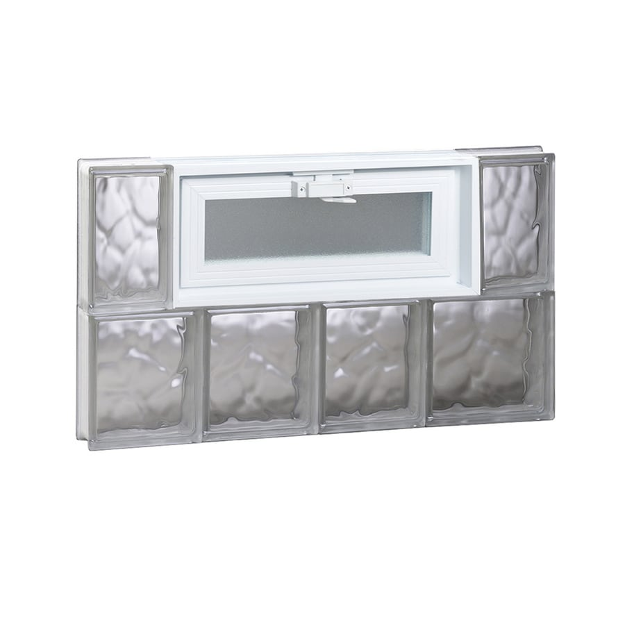 REDI2SET Wavy Pattern Frameless Replacement Glass Block Window (Rough Opening: 26-in x 16-in; Actual: 25-in x 15.5-in)