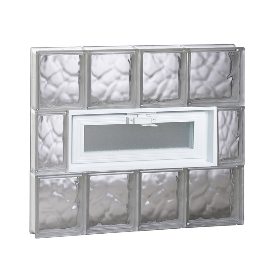 REDI2SET Wavy Glass Pattern Frameless Replacement Glass Block Window (Rough Opening: 26-in x 24-in; Actual: 25-in x 23.2500-in)