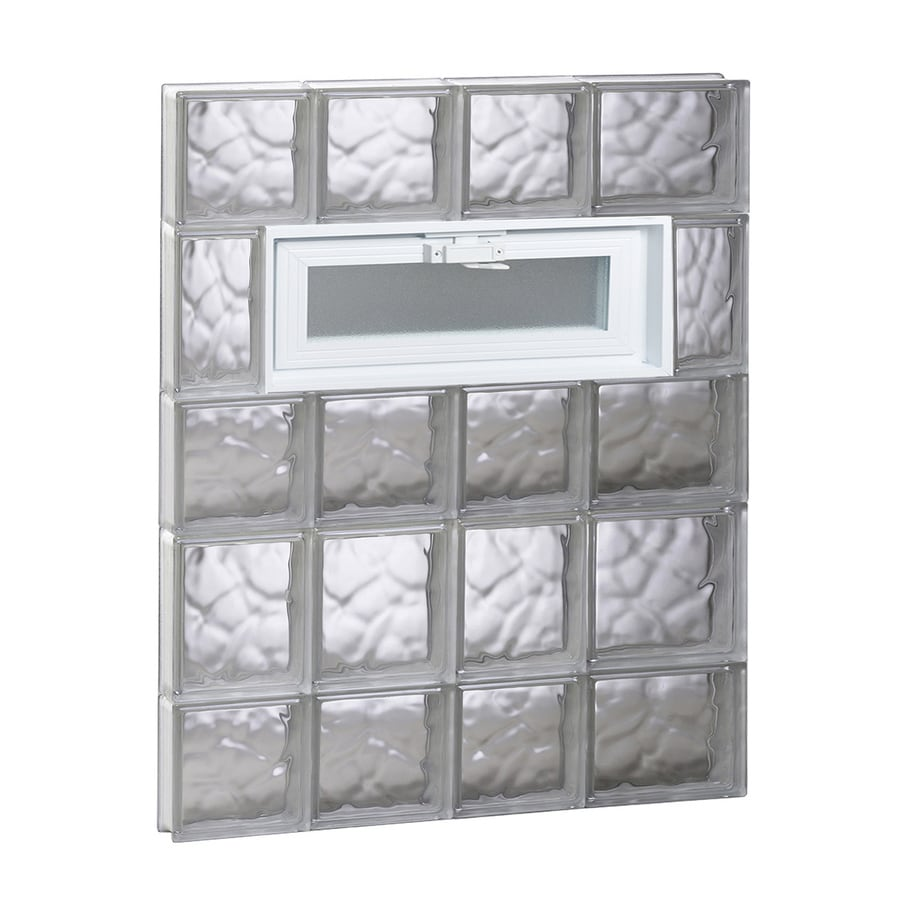 REDI2SET Wavy Pattern Frameless Replacement Glass Block Window (Rough Opening: 26-in x 34-in; Actual: 25-in x 32.75-in)