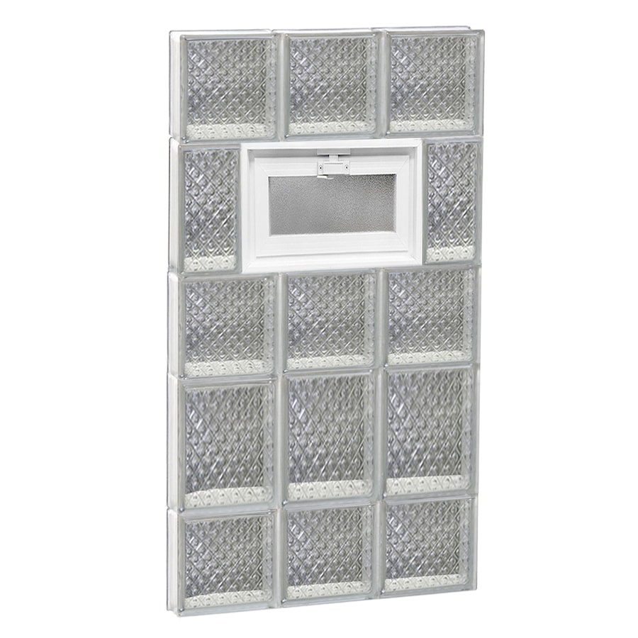 REDI2SET Diamond Glass Pattern Frameless Replacement Glass Block Window (Rough Opening: 18-in x 34-in; Actual: 17.25-in x 32.75-in)