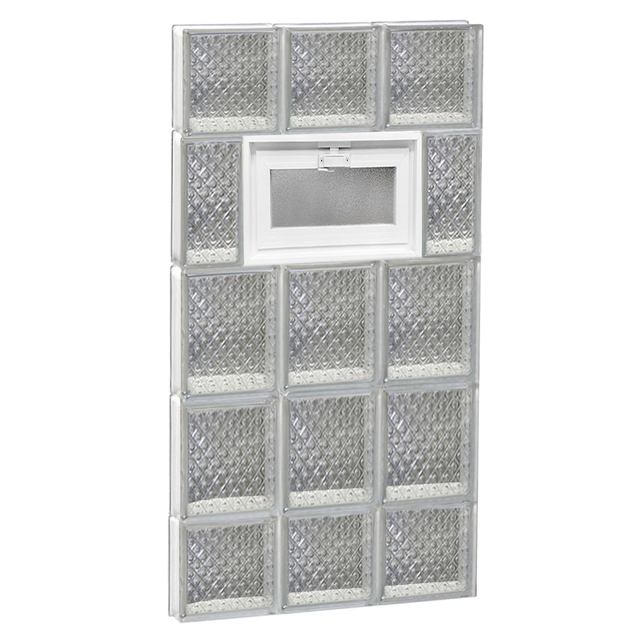 REDI2SET Diamond Glass Pattern Frameless Replacement Glass Block Window (Rough Opening: 18-in x 36-in; Actual: 17.25-in x 34.75-in)