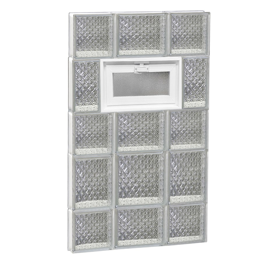 REDI2SET Diamond Pattern Frameless Replacement Glass Block Window (Rough Opening: 20-in x 34-in; Actual: 19.25-in x 32.75-in)