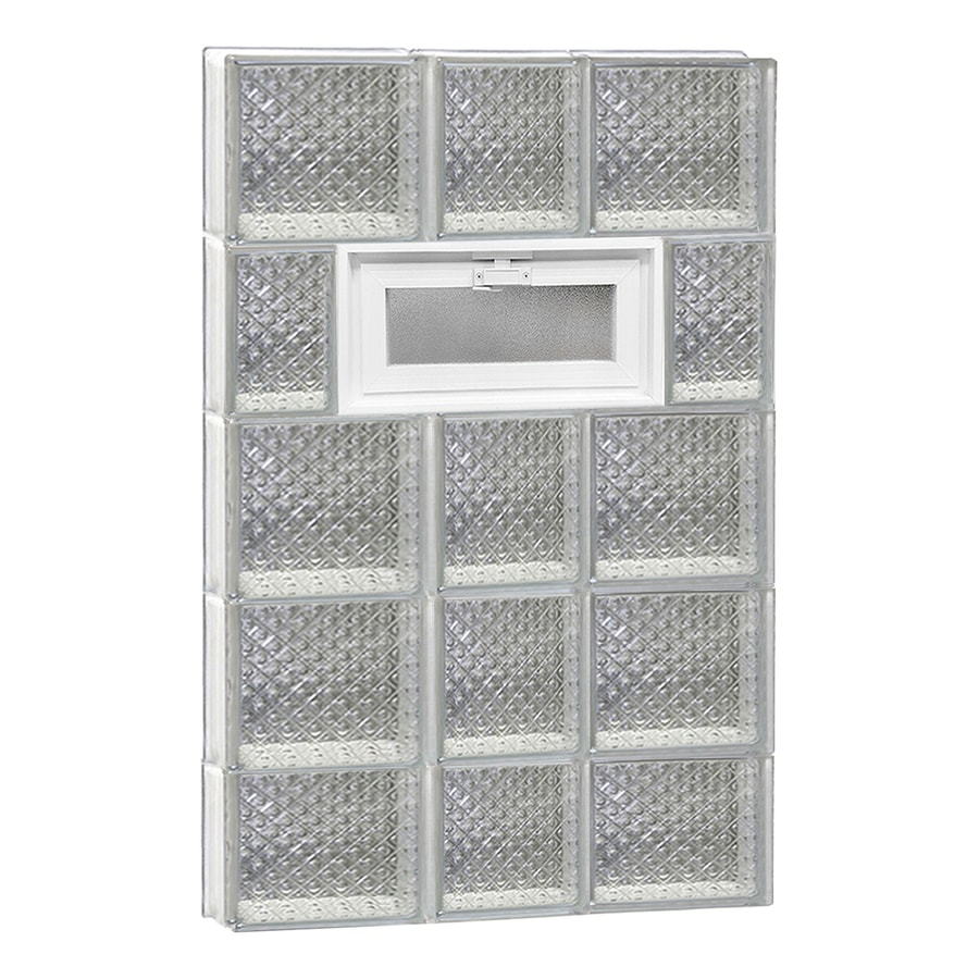 REDI2SET Diamond Glass Pattern Frameless Replacement Glass Block Window (Rough Opening: 22-in x 38-in; Actual: 21.25-in x 36.75-in)