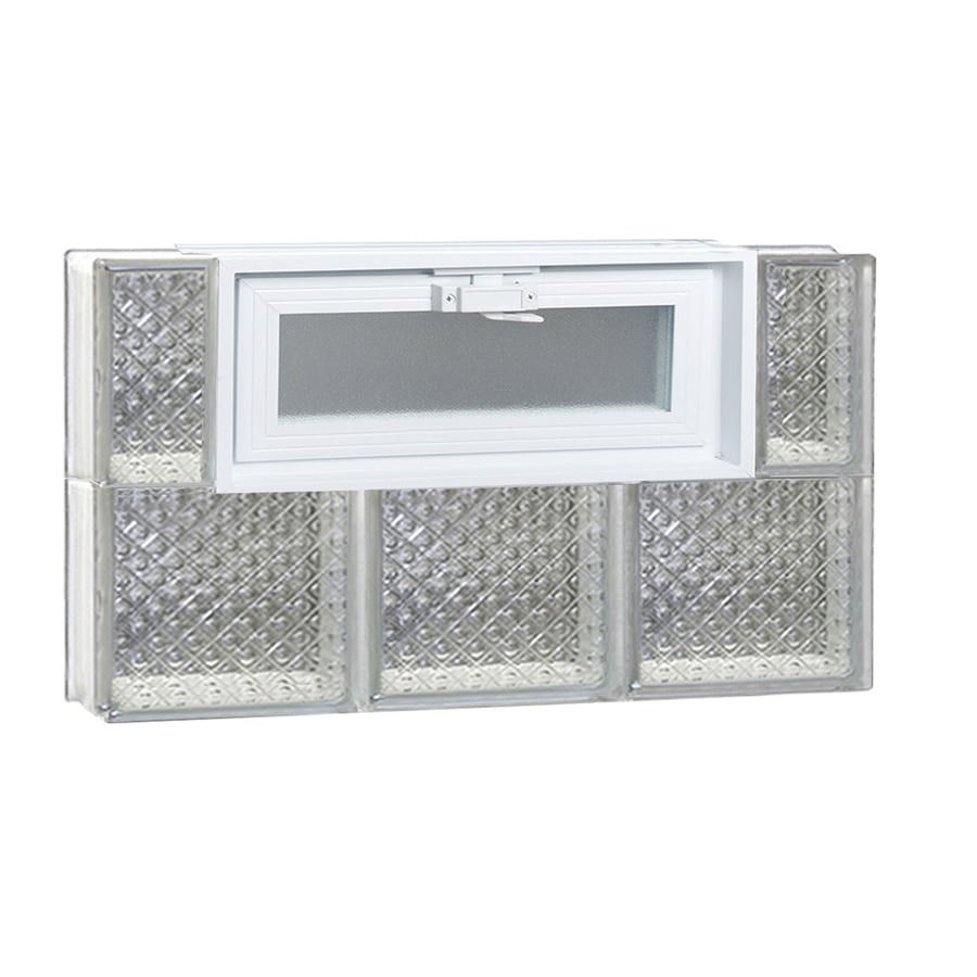 REDI2SET Diamond Glass Pattern Frameless Replacement Glass Block Window (Rough Opening: 24-in x 16-in; Actual: 23.25-in x 15.5-in)