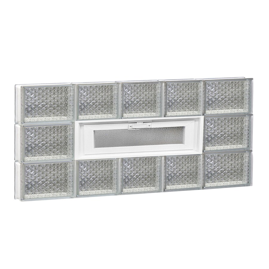 REDI2SET Diamond Pattern Frameless Replacement Glass Block Window (Rough Opening: 34-in x 18-in; Actual: 32.75-in x 17.25-in)