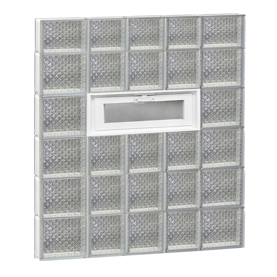 REDI2SET Diamond Glass Pattern Frameless Replacement Glass Block Window (Rough Opening: 34-in x 46-in; Actual: 32.75-in x 44.5-in)
